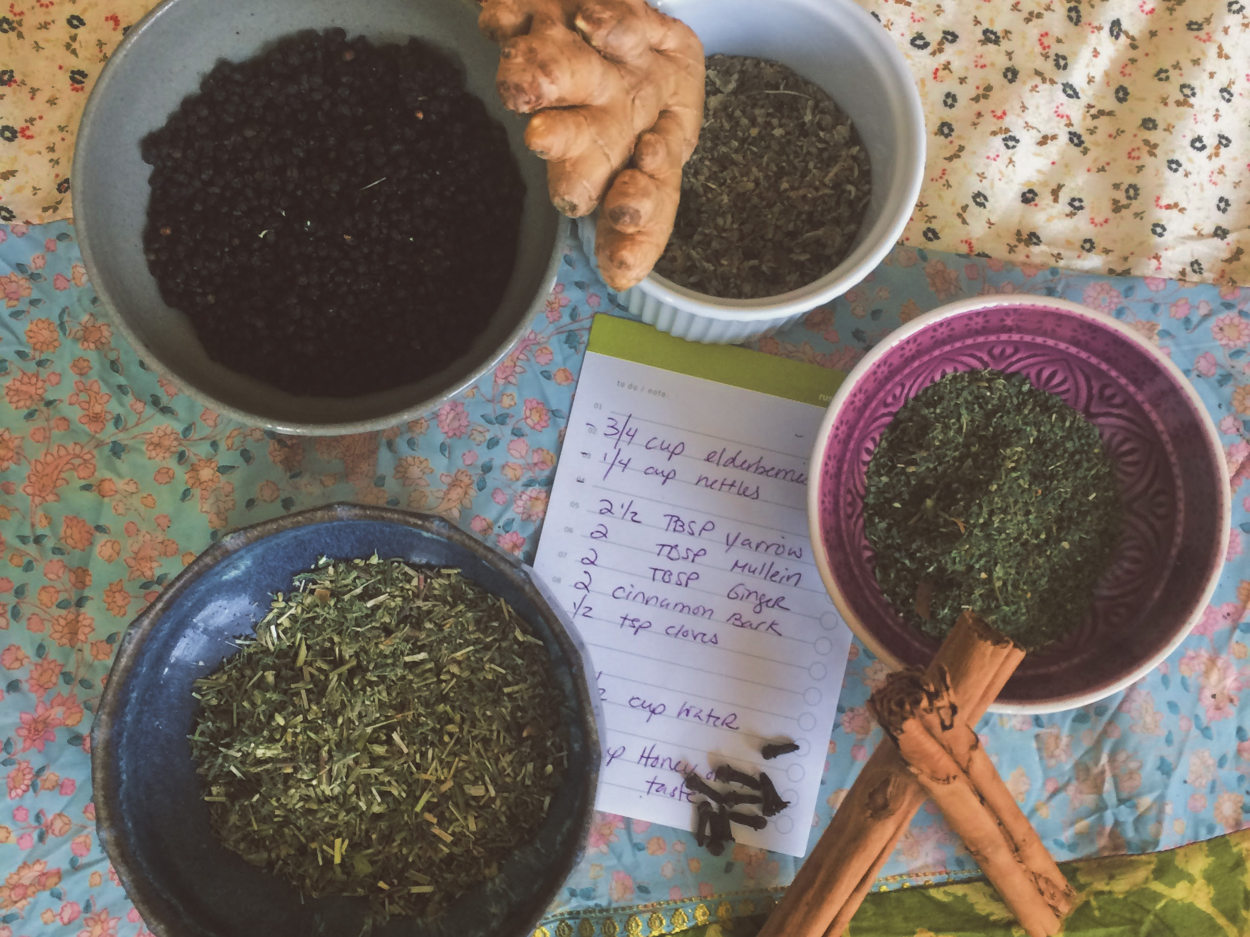 ingredients for herbal elderberry syrup